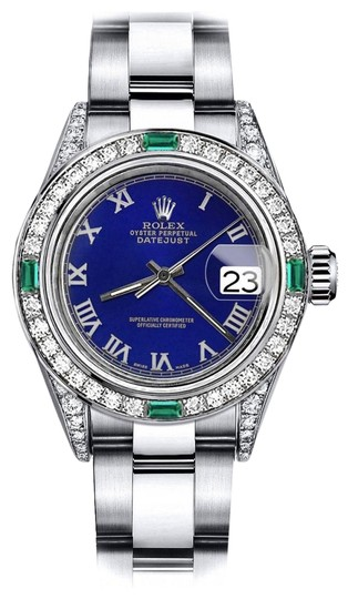 Preload https://img-static.tradesy.com/item/24182791/rolex-stainless-steel-blue-roman-26mm-datejust-diamond-lugs-and-emerald-watch-0-1-540-540.jpg