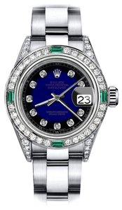 Rolex Rolex Blue Vignette RT 26mm Datejust Diamond lugs & Emerald