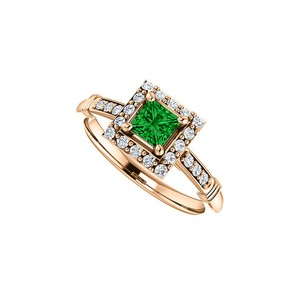 DesignByVeronica .75 ct tw CZ Accented Square Emerald Ring 14K Rose Gold