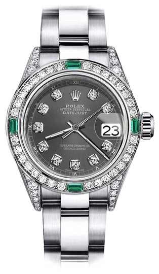 Preload https://img-static.tradesy.com/item/24182816/rolex-stainless-steel-dark-grey-26mm-datejust-diamond-lugs-and-emerald-watch-0-1-540-540.jpg