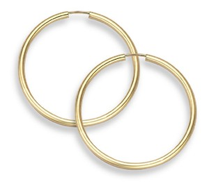 "Apples of Gold 14K GOLD HOOP EARRINGS - 1 3/16"" DIAMETER (2MM THICKNESS)"