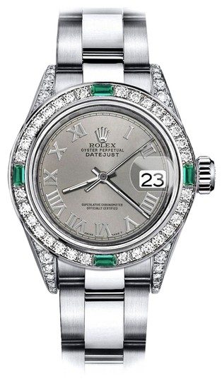 Preload https://img-static.tradesy.com/item/24182823/rolex-stainless-steel-grey-roman-26mm-datejust-diamond-lugs-and-emerald-watch-0-1-540-540.jpg