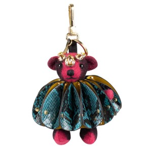 Burberry Pink Thomas Bear Ruffled Leather Jewel Embellishment Bag Charm