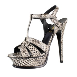 Saint Laurent Snakeskin Open Toe Strappy Buckle Ivory Platforms