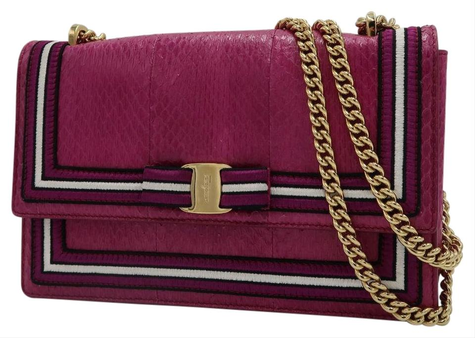 2b89cc2317d2 Salvatore Ferragamo Ginny Medium Reptile Sangria Pink Leather ...