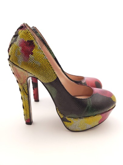 Betsey Johnson Platform Leather Floral Lace Trim Corset Multi-color Pumps Image 4
