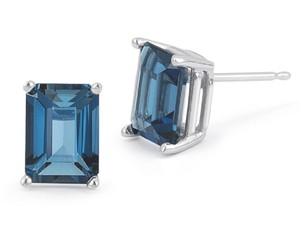 Apples of Gold 3.40 CARAT EMERALD-CUT LONDON BLUE TOPAZ STUD EARRINGS