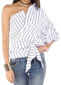 SheIn One Shoulder Button Down Shirt Blue