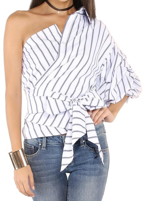 Preload https://img-static.tradesy.com/item/24183014/shein-blue-striped-one-shoulder-wrap-around-button-button-down-top-size-0-xs-0-1-650-650.jpg