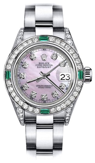 Preload https://img-static.tradesy.com/item/24183082/rolex-stainless-steel-pink-pearl-track-26mm-datejust-diamond-lugs-and-emerald-watch-0-1-540-540.jpg