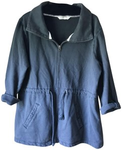 Old Navy Sweatshirt/Jacket 3/4 Sleeve Drawstring Zipper Close Peplum Weathered Navy Blue Jacket