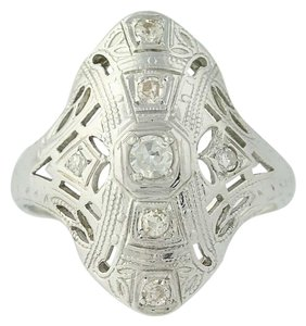 Other Art Deco Diamond Ring - 18k White Gold Size 4 3/4 Vintage .16ctw N7480