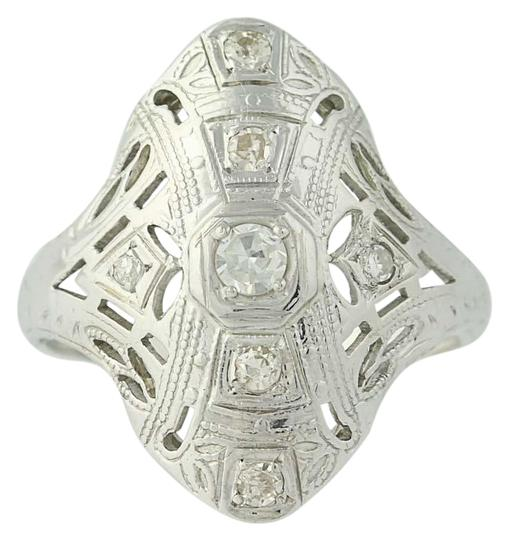 Other Art Deco Diamond Ring - 18k White Gold Size 4 3/4 Vintage .16ctw N7480 Image 0
