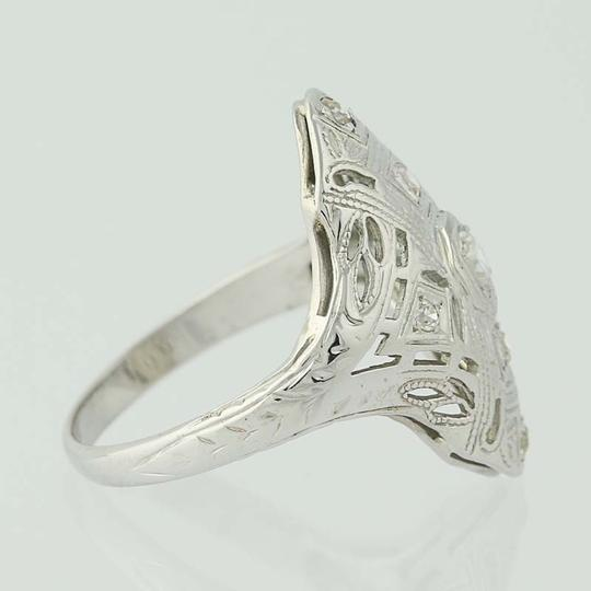 Other Art Deco Diamond Ring - 18k White Gold Size 4 3/4 Vintage .16ctw N7480 Image 1
