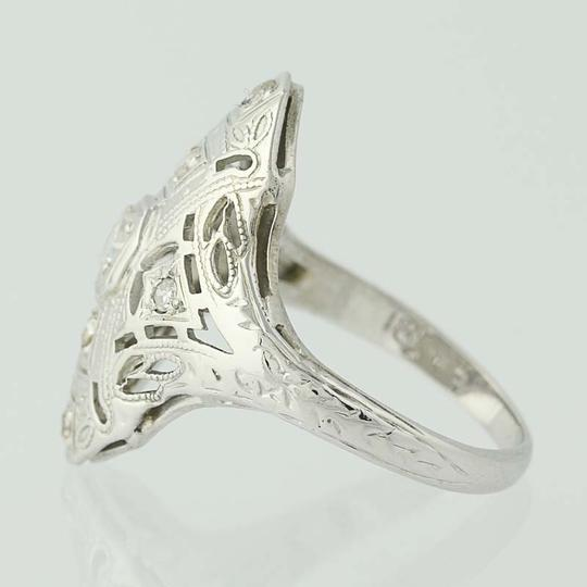 Other Art Deco Diamond Ring - 18k White Gold Size 4 3/4 Vintage .16ctw N7480 Image 2