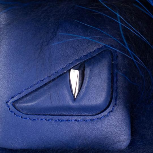 Fendi Blue Fox Fur And Leather Monster Cube Bag Charm Image 3