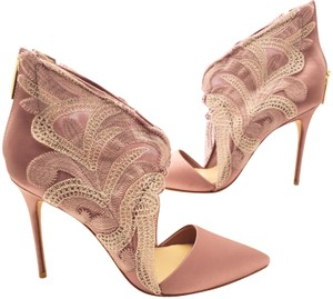 Vince Camuto Lace Satin Textured Rose Pumps