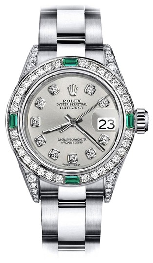 Preload https://img-static.tradesy.com/item/24183116/rolex-stainless-steel-silver-26mm-datejust-diamond-lugs-and-emerald-watch-0-2-540-540.jpg