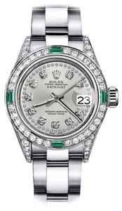 Rolex Rolex Silver String 26mm Datejust Diamond lugs & Emerald