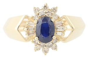 Other Sapphire & Diamond Halo Ring - 14k Yellow Gold Oval Brilliant Cut N836