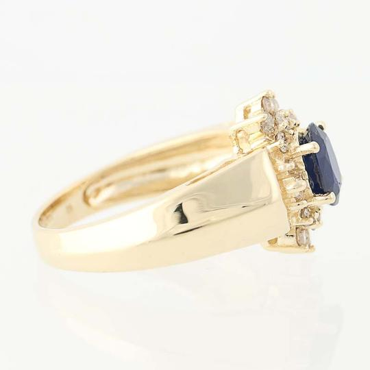 Other Sapphire & Diamond Halo Ring - 14k Yellow Gold Oval Brilliant Cut N836 Image 1
