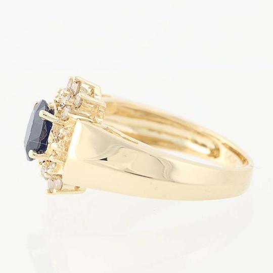 Other Sapphire & Diamond Halo Ring - 14k Yellow Gold Oval Brilliant Cut N836 Image 2