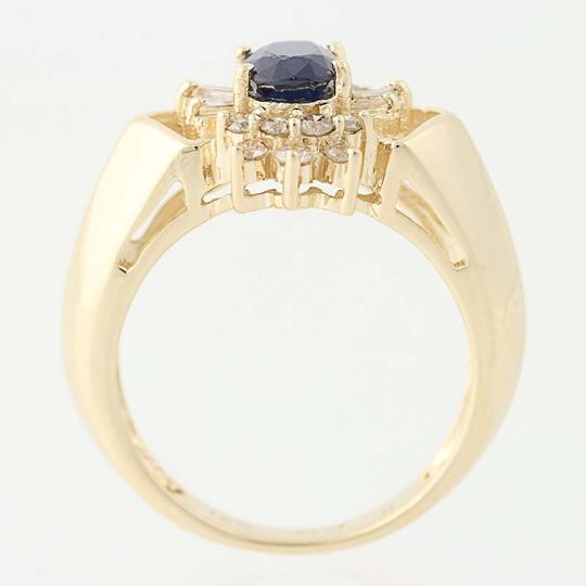 Other Sapphire & Diamond Halo Ring - 14k Yellow Gold Oval Brilliant Cut N836 Image 4