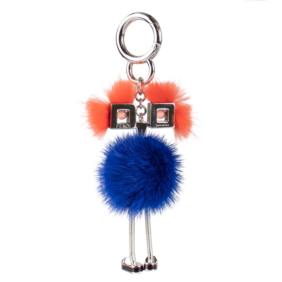 3d48ceeed7a0 Fendi Blue  chick  and Orange Mink Fur with Pink Eyes Bag Charm ...