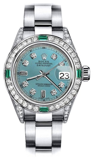 Preload https://img-static.tradesy.com/item/24183200/rolex-stainless-steel-turquoise-82-26mm-datejust-diamond-lugs-and-emerald-watch-0-1-540-540.jpg