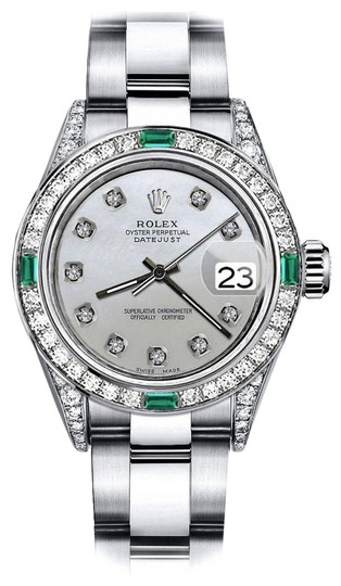 Preload https://img-static.tradesy.com/item/24183228/rolex-stainless-steel-white-pearl-26mm-datejust-diamond-lugs-and-emerald-watch-0-1-540-540.jpg