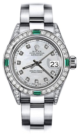Preload https://img-static.tradesy.com/item/24183254/rolex-stainless-steel-white-pearl-track-26mm-datejust-diamond-lugs-and-emerald-watch-0-1-540-540.jpg