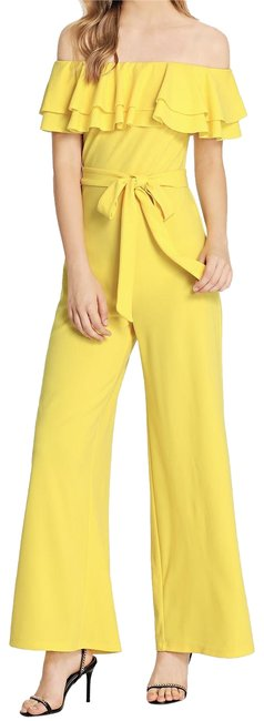 Item - Yellow Tiered Flounce Foldover Off Shoulder Belted Romper/Jumpsuit
