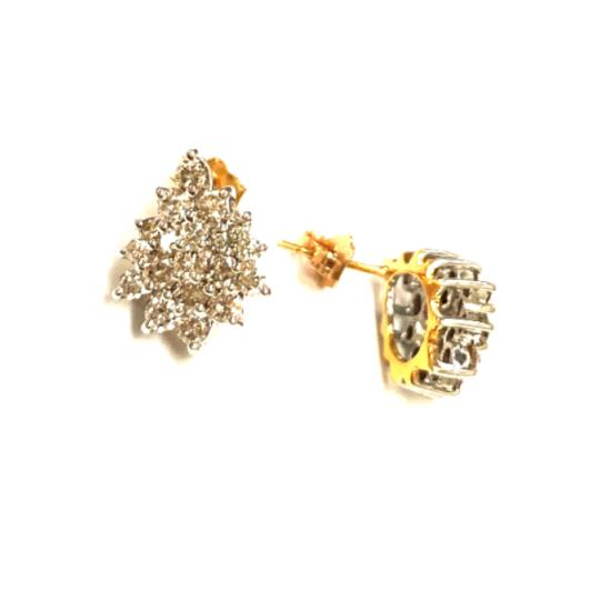 other (013) 14K Yellow Gold Diamond Cluster Earring Image 1