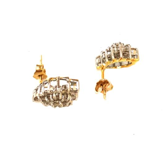 other (013) 14K Yellow Gold Diamond Cluster Earring Image 2