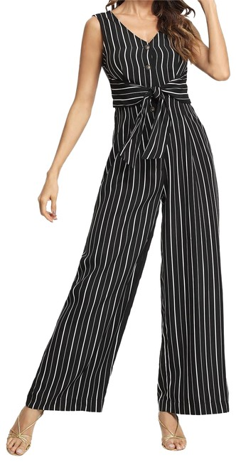 Preload https://img-static.tradesy.com/item/24183498/shein-black-button-front-knot-striped-shell-romperjumpsuit-0-1-650-650.jpg