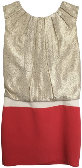 Preload https://img-static.tradesy.com/item/24183518/maje-gold-and-coral-mid-length-night-out-dress-size-2-xs-0-1-650-650.jpg