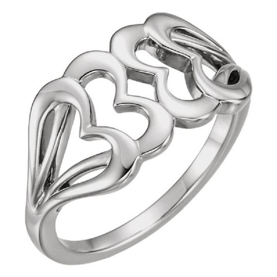 Apples of Gold INTERLOCKING WHITE GOLD HEART RING Image 1