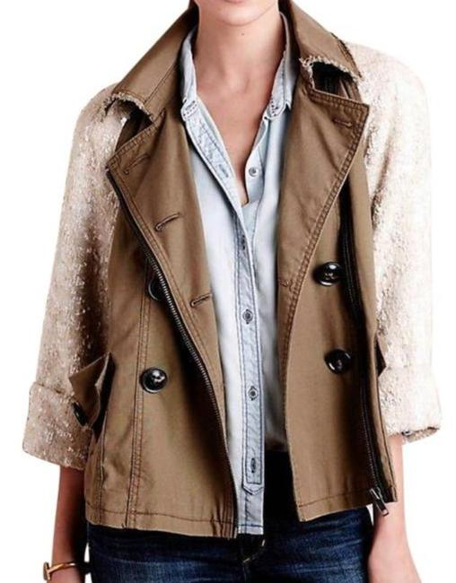 Anthropologie Swing Silhouette Sequin Sleeves Zip Front Super For Holidays Back Dart Moss Jacket Image 1