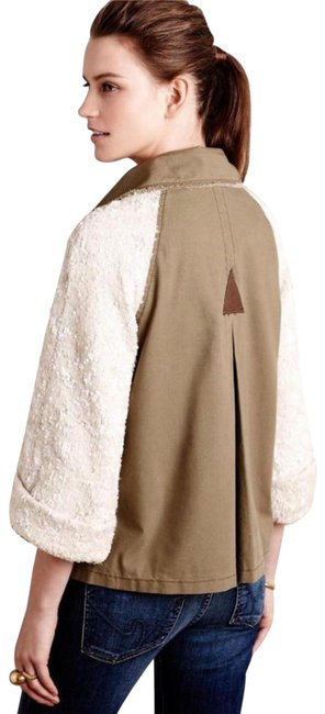 Anthropologie Swing Silhouette Sequin Sleeves Zip Front Super For Holidays Back Dart Moss Jacket Image 2