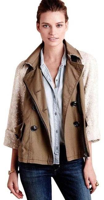 Anthropologie Swing Silhouette Sequin Sleeves Zip Front Super For Holidays Back Dart Moss Jacket Image 3