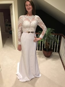 9c9fc9ae74c Berta Bridal Pure White Satin and Lace Mermaid Jewel Neck Long Sleeve Sexy  Wedding Dress Size