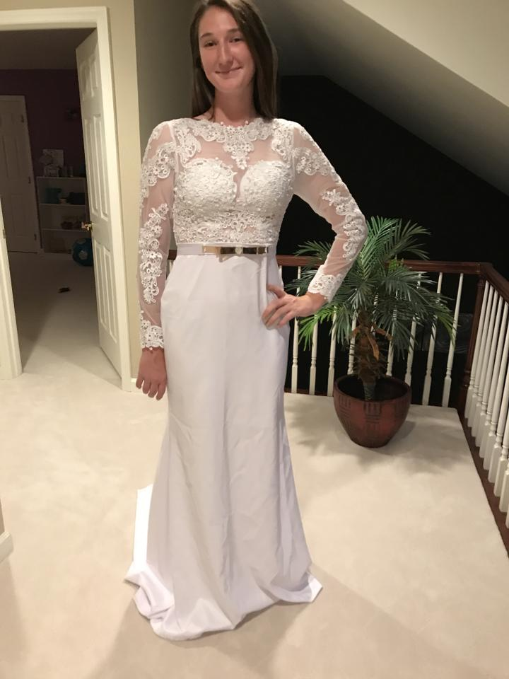 a0b73ca69c4 Berta Bridal Pure White Satin and Lace Mermaid Jewel Neck Long Sleeve Sexy  Wedding Dress Size ...