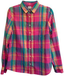 J.Crew Crew Size L Cotton Button Down Shirt The Perfect Shirt in Plaid