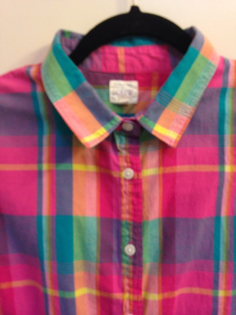J.Crew Crew Size L Cotton Button Down Shirt The Perfect Shirt in Plaid Image 1