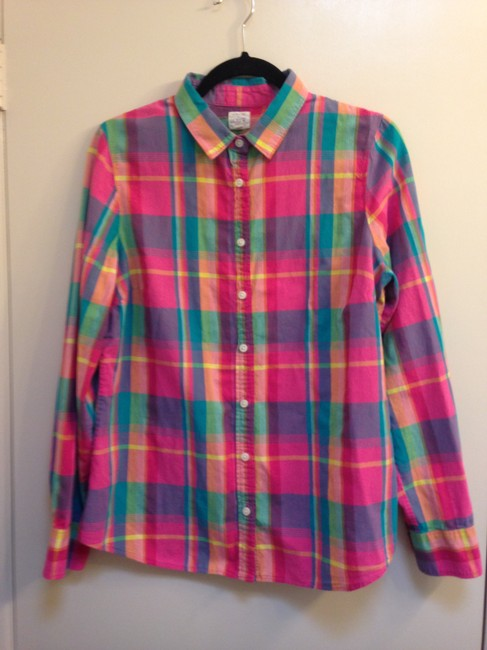 J.Crew Crew Size L Cotton Button Down Shirt The Perfect Shirt in Plaid Image 2