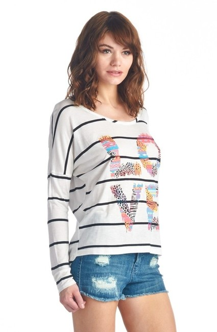 my Land Love Pullover Longsleeve Casual Top Multicolored Stripes Image 1