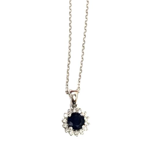 other (016) 14K White Gold Diamond Sapphire Necklace Image 1