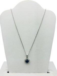 other (016) 14K White Gold Diamond Sapphire Necklace