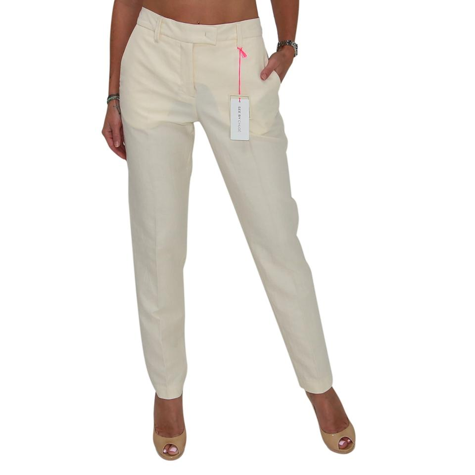 3454a118e2 See by Chloé Beige New Women Cotton Pencil Ankle Length Trousers Pants Size  4 (S, 27) 69% off retail