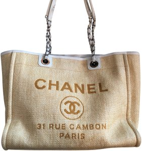 d9affb89d2225c Chanel Deauville Raffia Spring Tote in yellow and ivory
